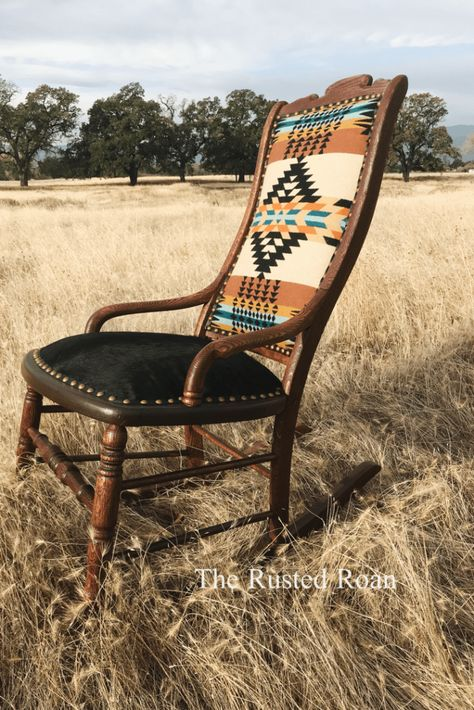 Pendleton Cowhide Upholstered Rocking Chair, Western Furniture - Home Decoration Ideas