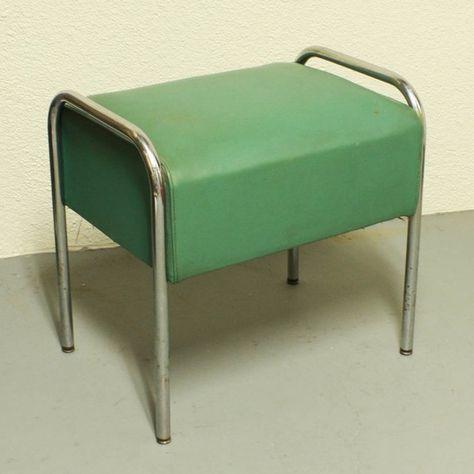 Vintage Chrome Vanity Bench