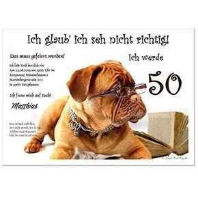 geburtstagseinladungen hund mit brille mit eigenem text wird