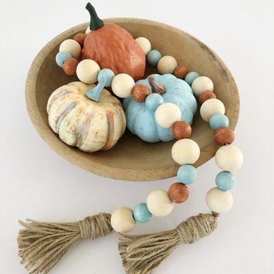 Pumpkin Pottery Bird Beaded Necklace