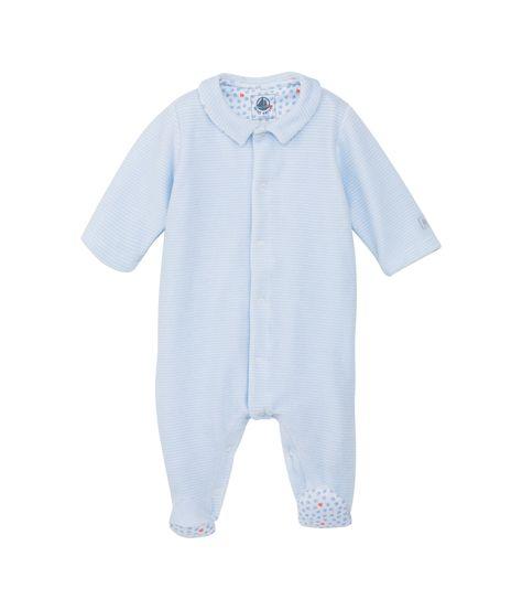 2a5931e136fe0 Dors bien bébé mixte en velours milleraies bleu Fraicheur   blanc Ecume - Petit  Bateau