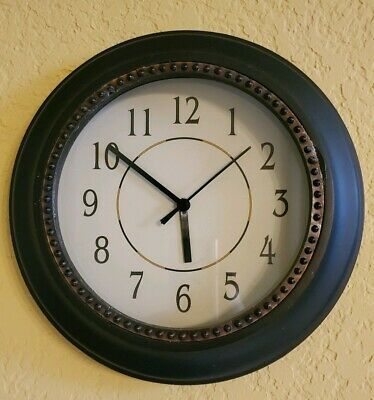 Details About Black Round 11 Inch Wall Clock In 2020 Wall Clock Black Wall Clock Clock