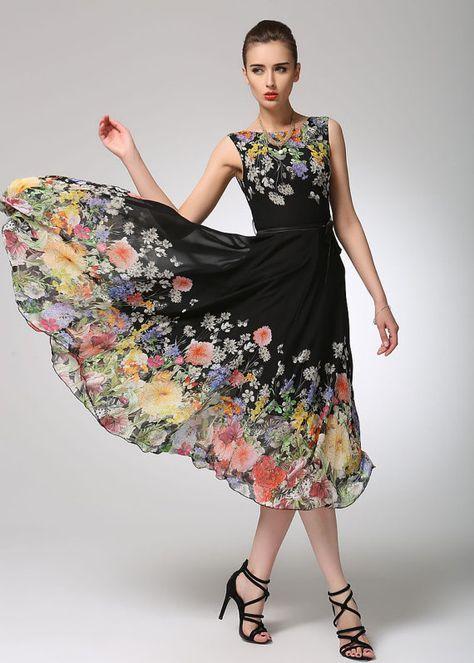 Floral Square Neckline Short Sleeve Midi A-line Dress   Floral shorts,  Short sleeves and Floral