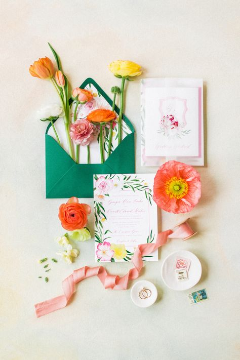 Using blissful hues and pops of lemon, @sweetoakevents created their own citrus garden without ever leaving home!   Photography: @annietimmonsphotography #stylemepretty #gardenwedding #weddingflowers #weddingflatlay #weddinginvitation #invitationsuite