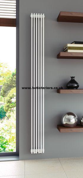 Abrook vertical radiators from hot interiors, 2000mm tall x say 295mm wide = 7717 btu.  Room needs approx 2 x 6348 btu