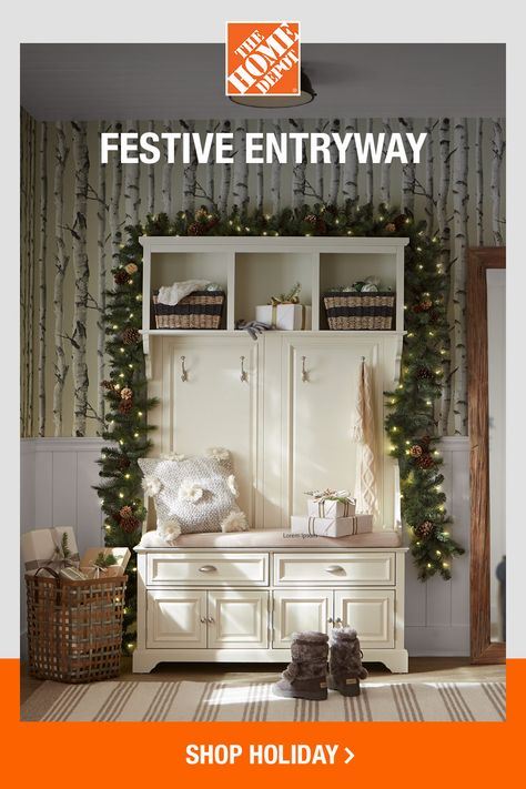 Make your first steps through the door a welcoming sensation by creating a cozy spot for taking off shoes and coats. Add some holiday cheer to your entryway with decorative baskets filled with ornaments and top your hall tree with garland like you would a mantel. Click now to shop this entryway online from The Home Depot.