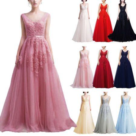 Women Lace Chiffon Bridesmaid Wedding Prom Ball Gown Formal Evening Long Dresses