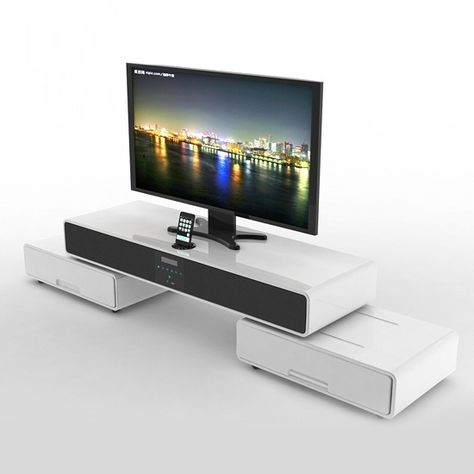 Modern White High Gloss Tv Stand With Iphone Docking Station Full Media Controls For Your Iphone Built In Speaker Tv Stand Wall Tv Stand High Gloss White