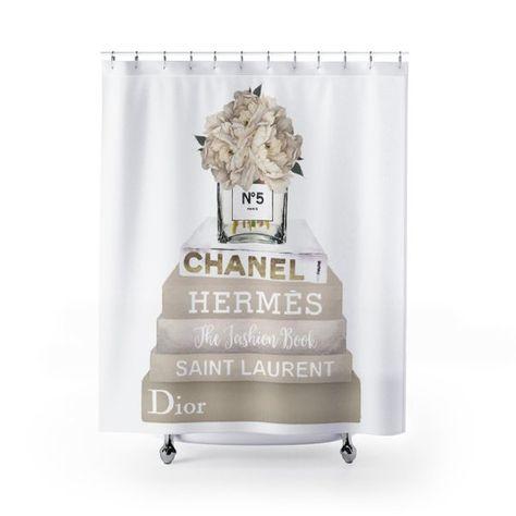 Shower Curtain Fashion Books Hydrangea Make Up CreamFashion Illustration Fashionista CurtainDesigner Bathroom
