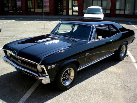 1969 Chevrolet Nova SS 396 Coupe at Details of cars. Muscle Cars Vintage, Old Muscle Cars, Chevy Muscle Cars, American Muscle Cars, Vintage Cars, Classic Muscle Cars, Old Classic Cars, Chevy Nova, Chevrolet Nova