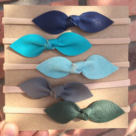 6354f269867c Real Leather Knot Bow // Toddler/Baby nylon elastic by MiloandLucy. NO DIY