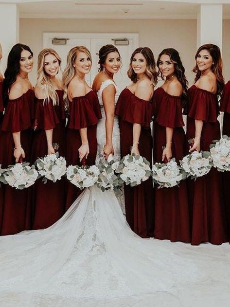 Off-the-Shoulder Burgundy Bridesmaid Dresses