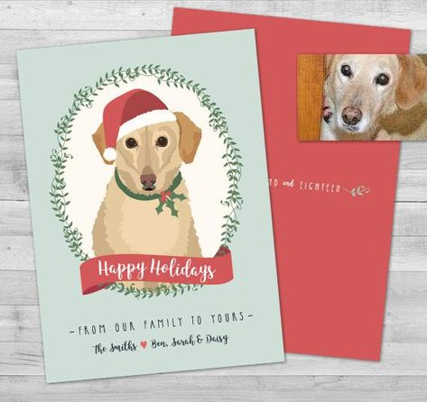 Custom Pet Portrait Christmas Card Dog