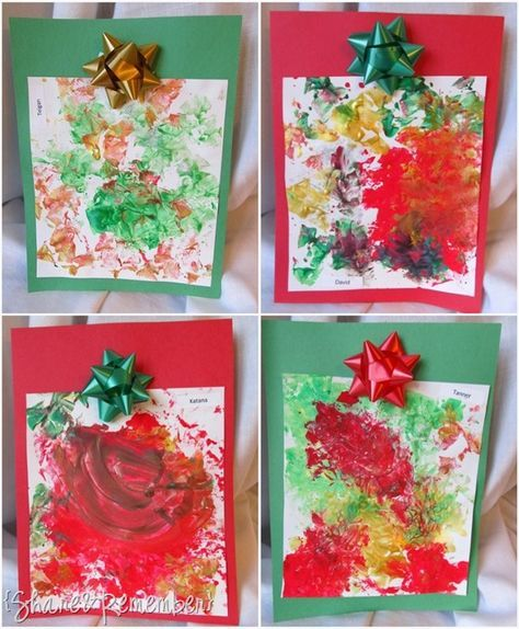 Holiday Bow Prints Art Christmas Process Art for Preschoolers