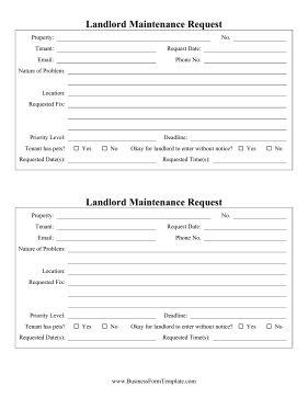 Landlord Maintenance Request Template Regarding Maintenance