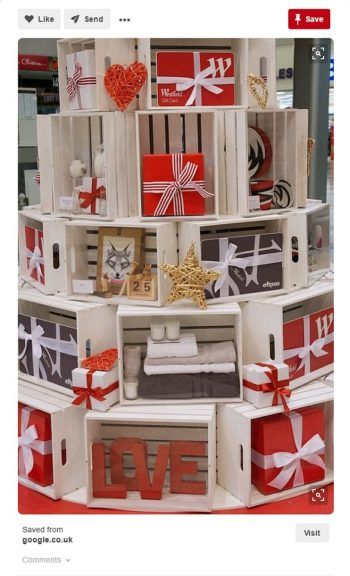 White Crate Tree Holiday Display From The Uk Christmas Gift Shop Displays Christmas Shop Displays Christmas Store Displays