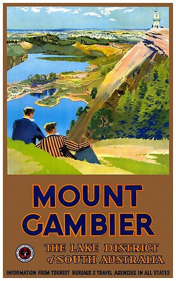 Fantastic Reproduction Of A Fully Restored Vintage Travel Poster From Mount Gambier Australia 1930s Travel Posters Posters Australia Vintage Travel Posters