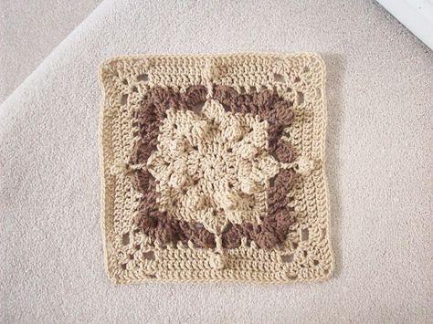 "Day 13: 12"" Block of the Day - Popcorn Delight by Aurora Suominen  Free Pattern: http://myblueangels.blogspot.com/2010/04/popcorn-delight-12-square.html  July 2013 #TheCrochetLounge #12inch #grannysquare Pick #crochet"