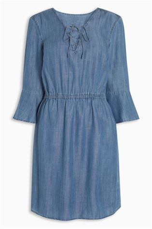 6881fc75b5fa Lace up in this LOVELY denim dress! Dress up with wedges or down with some  classic white converse.