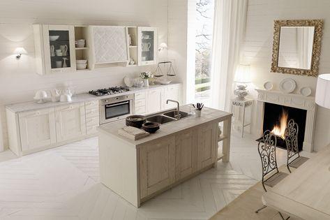 Cucina country chic bianca con isola - Aurora Cucine | Cucina