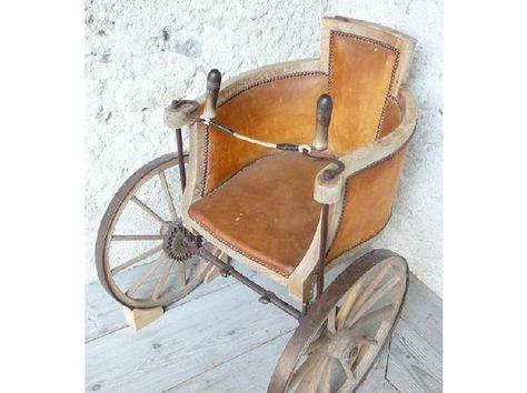 Wheel chair for Daniel Bovy.Mid 1800's