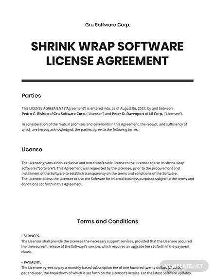 Shrink Wrap Software License Agreement Template Word Doc Templates Agreement