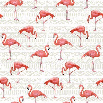 Bay Isle Home Matlock Bird Animal Removable Peel And Stick Wallpaper Panel Flamingo Wallpaper Wallpaper Pink Flamingo Wallpaper