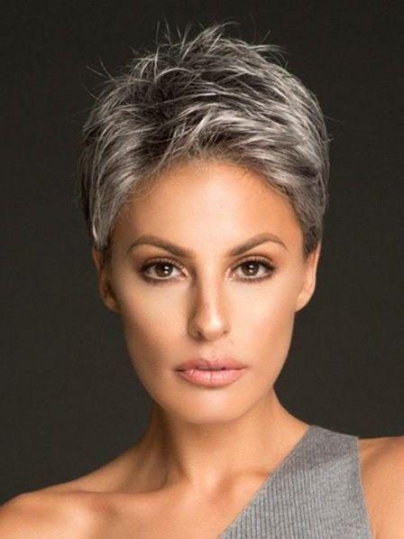 Synthetic Lace Front Grey Wig For Ladies Graue Frisuren Kurzhaarfrisuren Frisuren Kurze Haare Braun