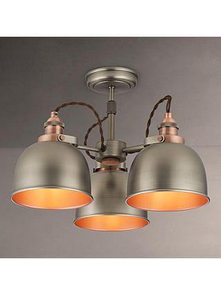 John Lewis Partners Baldwin Semi Flush 3 Arm Ceiling Light Pewter Copper In 2020 Ceiling Lights Brass Ceiling Light Semi Flush Ceiling Lights