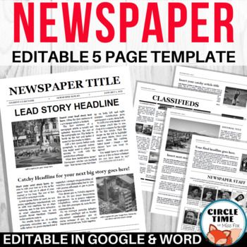 Editable Newspaper Template Google Docs Microsoft Word 5 Pages