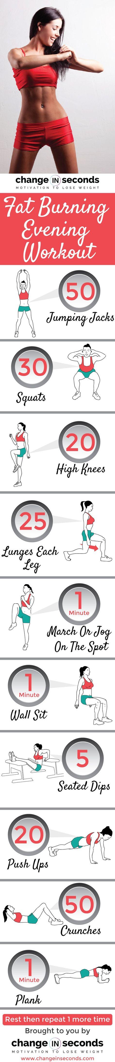 Fat Burning Evening Workout (Download PDF) http://www.changeinseconds.com/fat-burning-evening-workout/