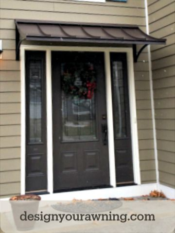 The Concave Style Door Awning In Bronze Metal With The Smith Scrolls In 2020 Beautiful Doors Door Awnings Custom Awnings