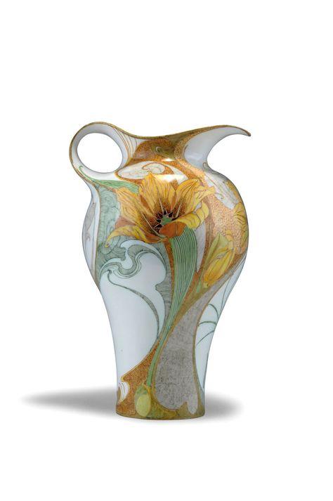 """** Rozenburg, Den Haag, """"Eggshell"""" Porcelain pitcher, painted by Schellink, Samuel."""