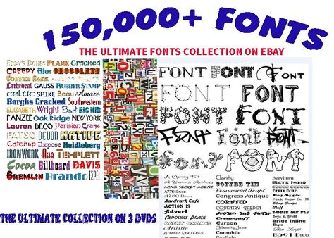 150,000 FONTS COLLECTION SOFTWARE * FONTS LIBRARY * PC FONTS* FREE