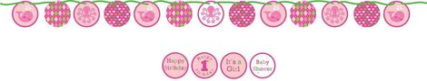 Circle Banner: 4 Stickers included to customise your banner; Baby Shower, Happy Birthday, Happy 1st Birthday, It's a Girl. Length: 5.5 ft.