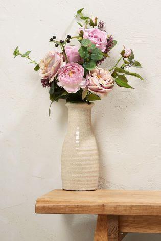 Buy Country Luxe Pink Arrangement In Rustic Crackle Vase From The Next Uk Online Sh Artificial Plant Wall Artificial Plants Decor Artificial Plant Arrangements