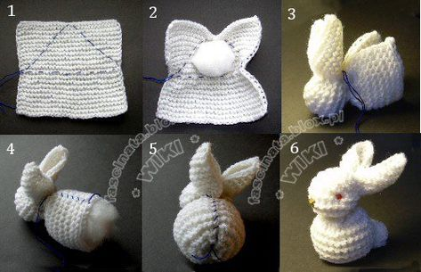 make a rabbit out of a simple knitted square (visual guide)