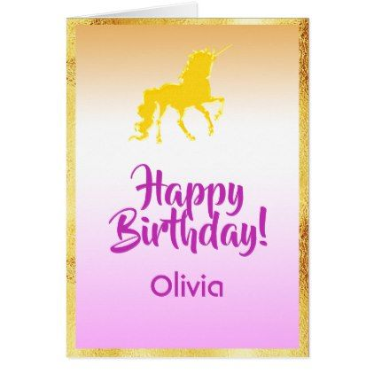 Unicorn In Faux Gold And Pink Happy Birthday Name Card Zazzle