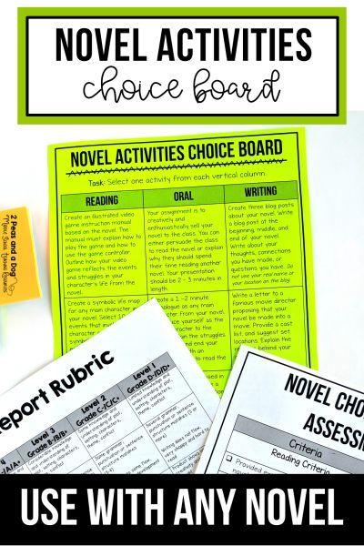 Novel Study Choice Board 9 Activities For Any Novel Writing Lessons Novel Studies Middle School English Language Arts