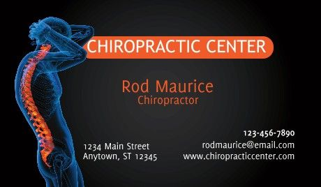 General Chiropractic Business Cards Health Business Card Template Design Business Card Template Chiropractic Center