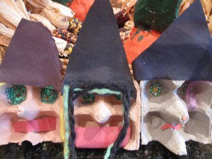 Knutselen 3d: egg carton witches