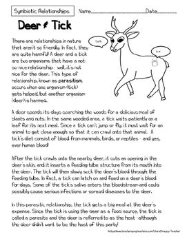 Mutualism Reading Comprehension Worksheets Deer And Tick Symbiosis Reading Comprehension Worksheets Informational Reading Passages Reading Comprehension