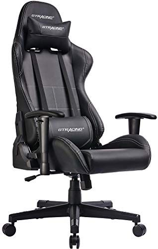 Gaming Chair Racing Office Computer Chair Video Game Adjustable Recliner Swivel Rocker With Headrest And Lumbar Pillow E Sports Chair Black Sport Chair Gaming Chair Racing Chair
