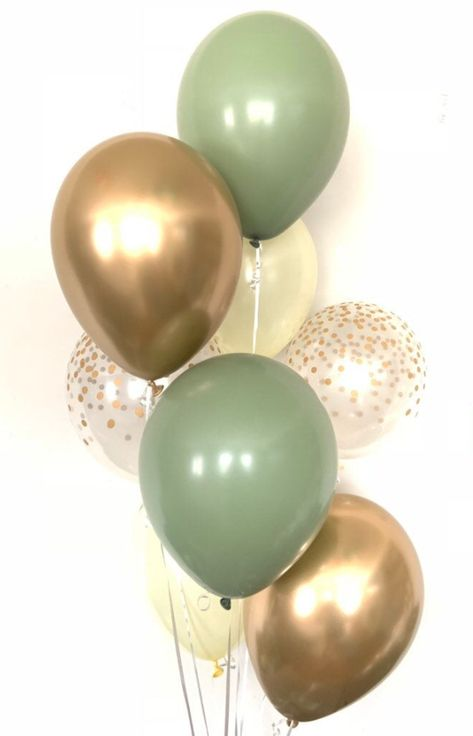 Green and Ivory Balloons Deco Baby Shower, Baby Shower Backdrop, Shower Bebe, Simple Baby Shower, Gold Baby Showers, Boy Baby Shower Themes, Baby Shower Balloons, Baby Shower Gender Reveal, Baby Shower Green
