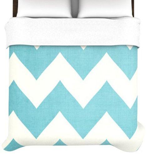 KESS InHouse Brittany Guarino Art Blue Aqua Wood Twin Comforter 68 X 88