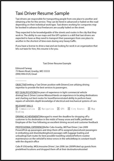 Taxi+Driver+Resume+Samplejpg (571×806) Resume ideas Pinterest - resume format for drivers