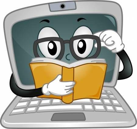 Mascot Ilustracion Que Ofrece Un Ordenador Portatil Que Lee Un Libro Utiles Escolares Animados Computadora Para Ninos Libros De Informatica