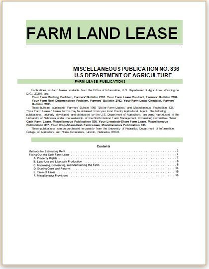 Farm Land Lease Agreement Templates Stationery Templates Lease Agreement Lease Farmland