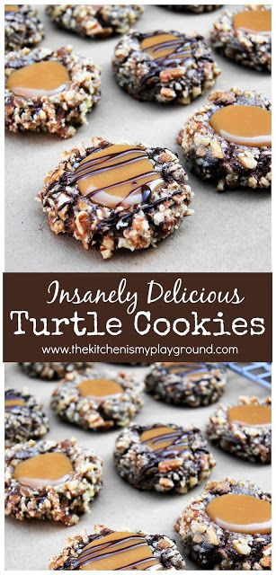 Insanely Delicious Turtle Cookies - [all time best dessert recipes!] - Insanely Delicious Turtle Cookies ~ The classic flavors of turtle candy … chocolate, pecans & car - Turtle Cookies, Christmas Snacks, Christmas Cooking, Christmas Time, Christmas Cookies For Kids, Best Christmas Cookie Recipe, Christmas Candy, Xmas Cookies, Yummy Cookies