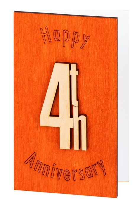 4th 4 4 Years Happy Anniversary Card Original Anniversary Gift For Him Husband Man Her Wife Parents Friends Wood Work Anniversary Cards For Him Happy Anniversary Cards Happy Anniversary